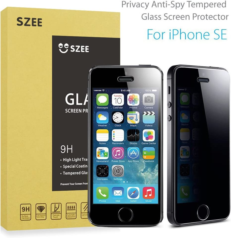 SZEE Privacy Screen Protector for iPhone SE/5C/5s/5,Anti-Spy Tempered Glass Screen Film Shield,Keep Your Information Private,Protect Your Screen from Scratches and Drops,High Light Transmittance