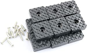 Pro Bamboo Kitchen 12sets Square Rubber Feet Furniture Pads 30mm with Stainless Steel Cross Screw M4x16mm for Chair Table Sofa Couch Non-Slip Leg Caps Black