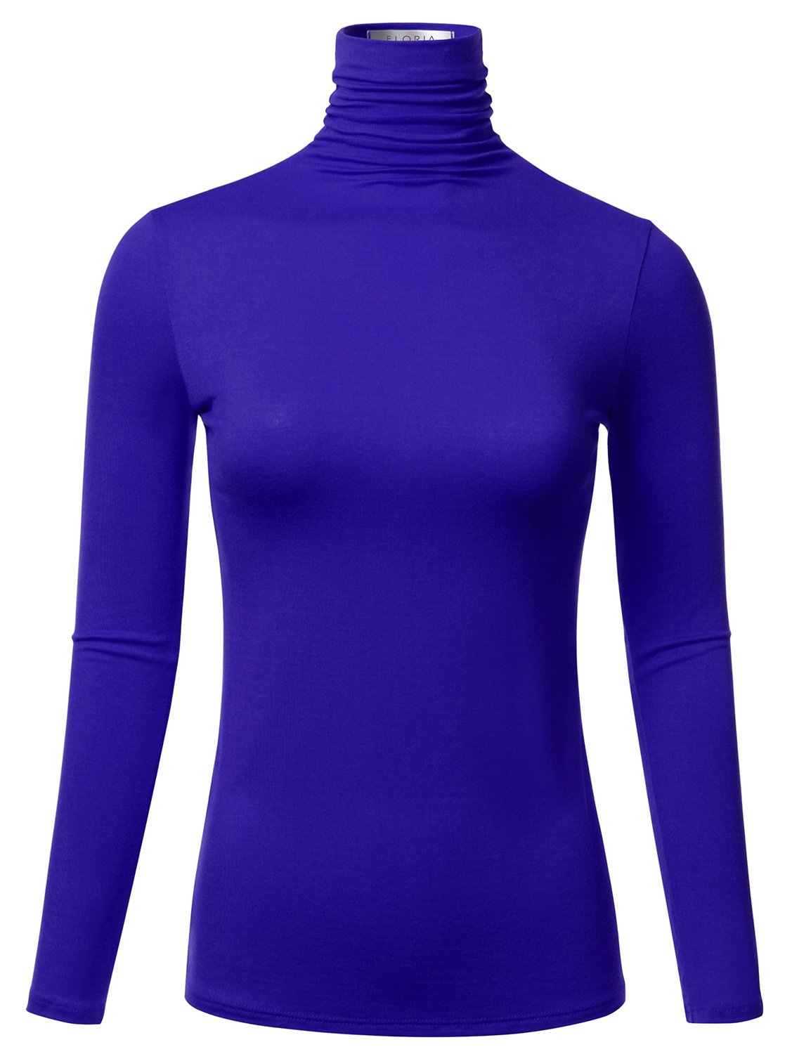 FLORIA Womens Long Sleeve Lightweight Turtleneck Top Pullover Sweater Royalblue L