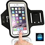 iPhone 7/8 Sports Armband with Fingerprint ID Access. Running Phone Arm Case Holder for X-Small - X-Large Arms. Designed for Runners, Gym Workouts and Exercise.