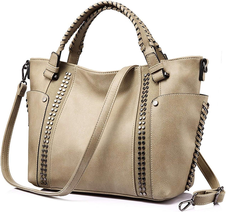 women handbag female artificial leather top-handle tote bag ladies shoulder bag large messenger bag with rivets,Camel,United States,