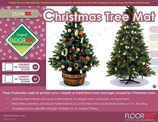 Amazon.com : Floortex Christmas Tree Mat, Clear Polycarbonate, Standard  Size, 24
