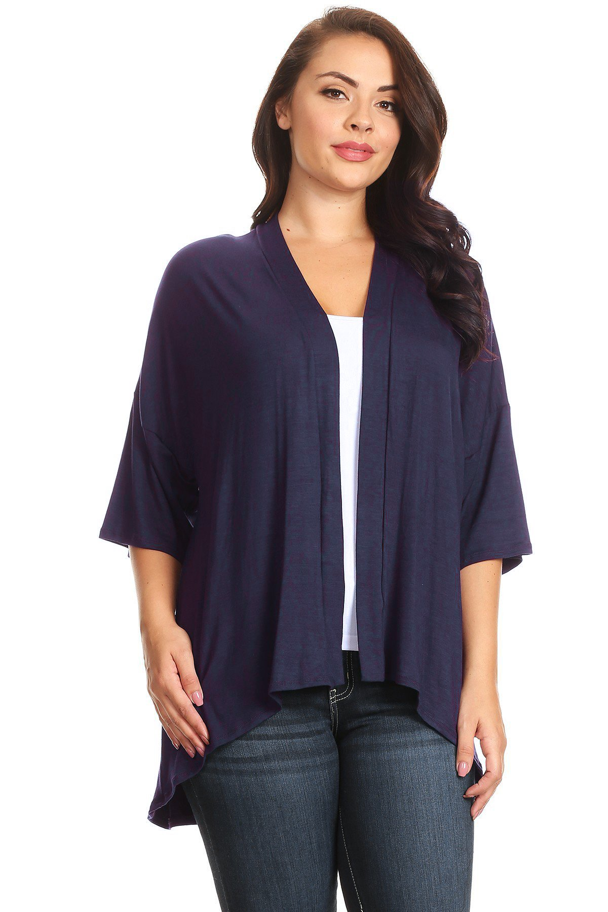 Modern Kiwi Plus Size Solid 3/4 Sleeve Open Front Cardigan Navy 1X
