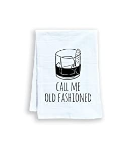 Funny Dish Towel, Call Me Old Fashioned, Flour Sack Kitchen Towel, Sweet Housewarming Gift, Farmhouse Kitchen Decor, White