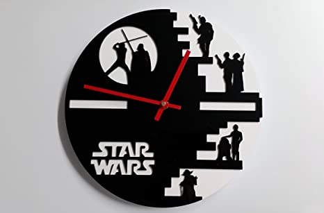 Reloj de pared original de Star Wars, metacrilato, silencioso, moderno
