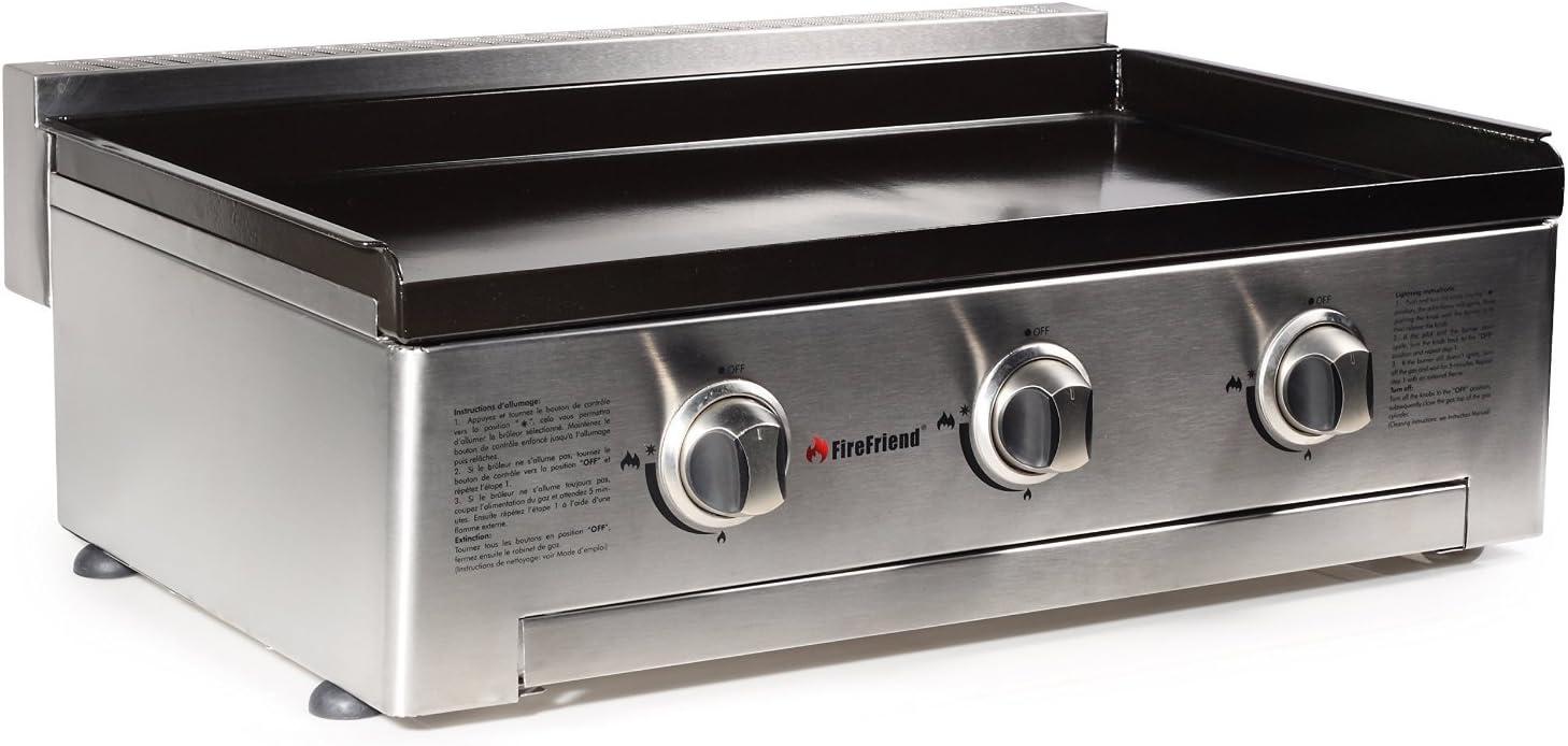 FireFriend BQ-6395 Parrilla de Gas, Tres quemadores, Acero Inoxidable, Negro, 56.5 x 28 x 78 cm