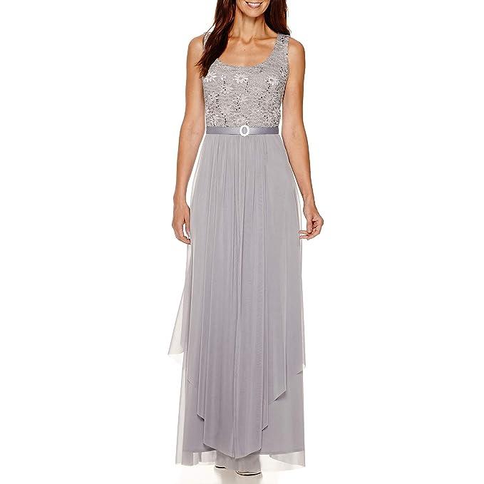Amazon.com: R&M Richards - Vestido largo de encaje con ...
