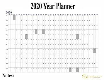 Wall Calendar 2020 2020 Maxi Wall Calendar Poster, Staff Holiday Chart Plan, Wall
