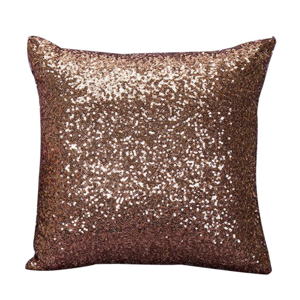 Gotdクッションソリッドカラーキラキラ光るスパンコール豪華なスロー枕ケースカフェホーム装飾クッションカバー 18 x 18 ブラウン コーヒー B019RLFD8G