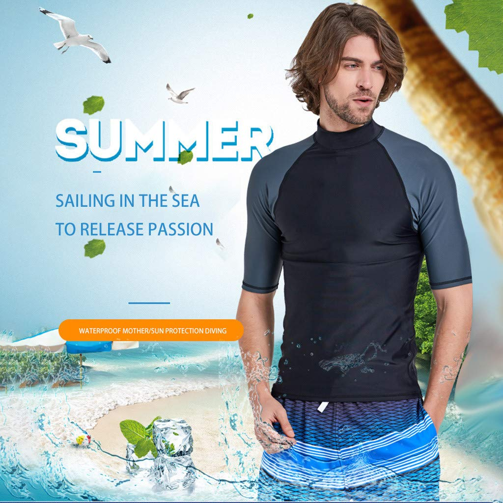 Yliquor Men's Wetsuit Top, Premium Neoprene Wetsuit Shorty Sleeve Wetsuit Shirt for Diving Snorkeling Surfing Kayaking Canoeing by Yliquor