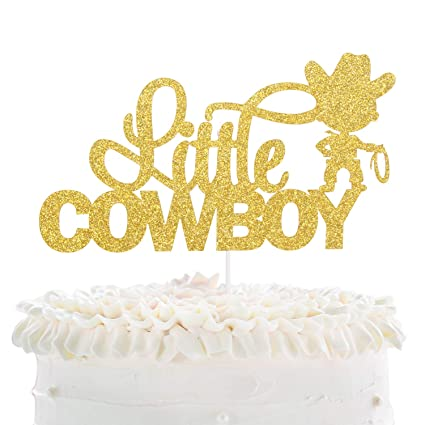 Stupendous Little Cowboy Birthday Cake Topper Gold Glitter Lasso Roper Funny Birthday Cards Online Alyptdamsfinfo
