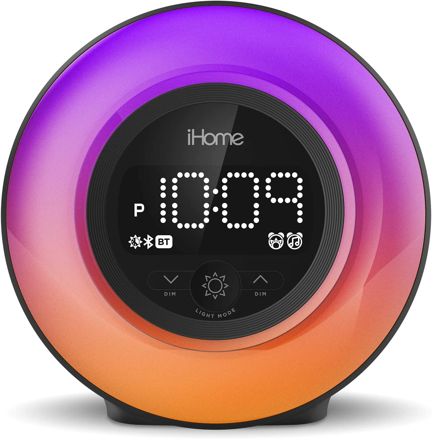 iHome PowerClock Glow Alarm Clock - Bluetooth Color Changing FM Clock Radio with USB Charging Port, Dimmable Display and 7-5-2 Dual Alarm - Perfect for Bedside Tables (Model iBT295)