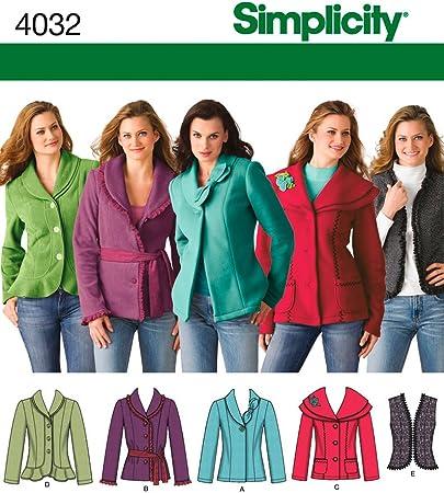 Simplicity 2341 Misses Jackets Vests Sewing Pattern Sz 6-14