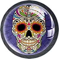 for Dresser Drawers Glass Mermaid Purple Colorful Mexican Skull Drawer Pulls Handle Door Cabinet Knobs Cupboard Hardware…