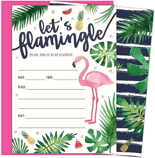 Modern Flamingo Birthday Invite Flamingo Invitation Pool Party Invite Tropical Party Invite Printable Invites Let/'s Flamingle