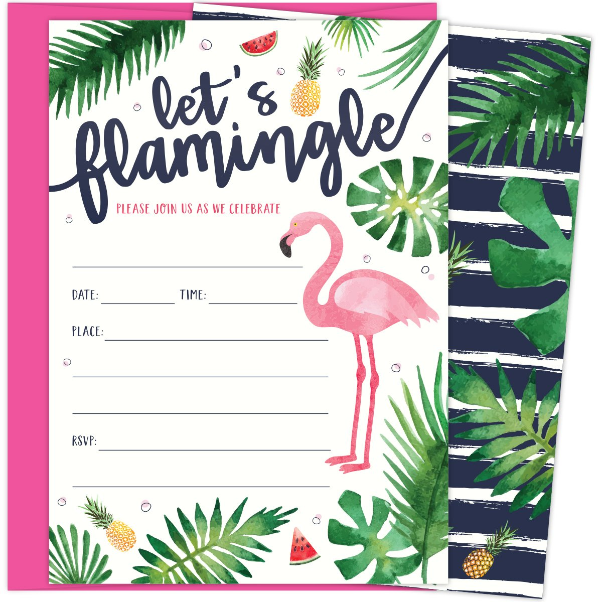 Let's Flamingle Party Invitations with Pink Flamingo and Palm Leaves. 25 Hot Pink Envelopes and Fill in Invites for Soirees, Bridal Showers, Baby Showers, Birthdays, Graduations, Summer Parties by Koko Paper Co