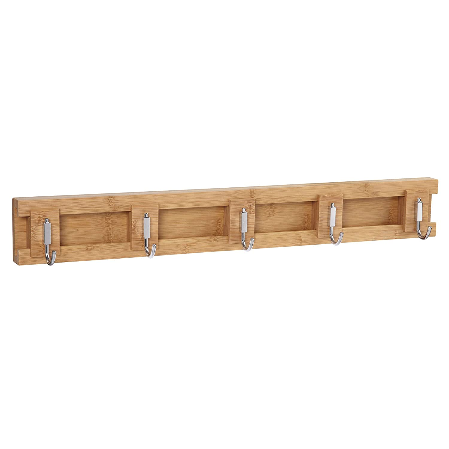 Household Essentials Bamboo Sliding 3-Hook Wall Coat-Hat Rack, Natural 2251-1