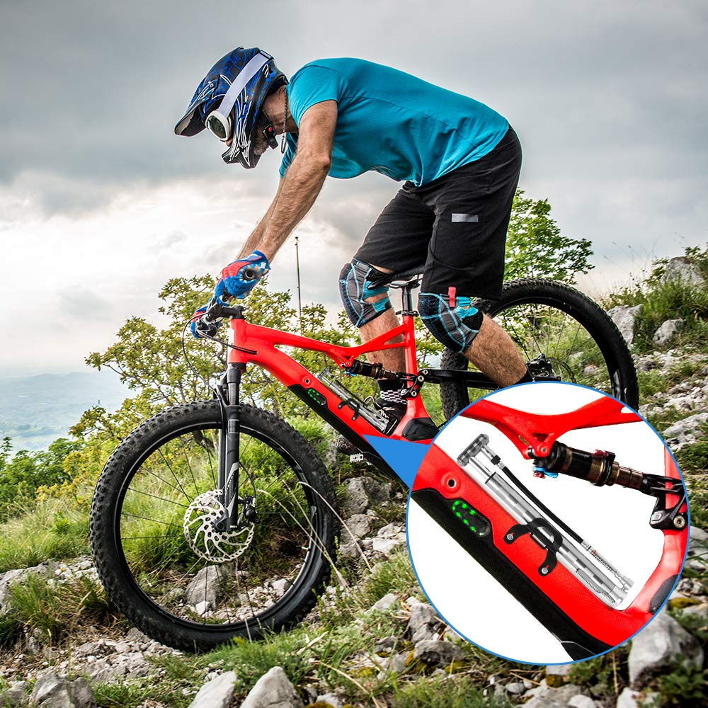 2019-Upgraded Bike Pump Portable High Pressure Mini Bicycle Floor Pump 160PSI Compatible with Presta Schrader Valve Pressure Gage Aluminum Alloy Bike Tire Pump for Road Mountain BMX Bikes Silver