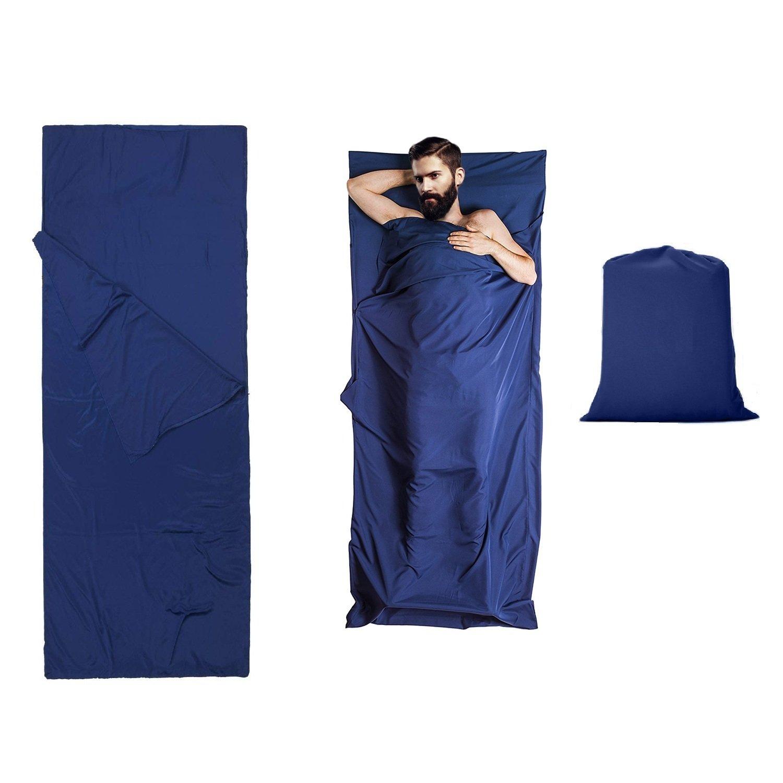 OCMCMO Saco de dormir + funda para la Almohada ,Saco de Dormir Portátil Bolsa de Viaje Camping de verano y otoño, Hotel, Hostal, Fácil de llevar y limpiar ...
