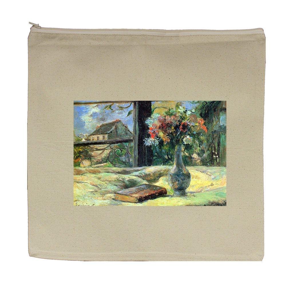 Flower Vase In Window (Gauguin) Canvas Zipper Tote Bag Makeup Bag