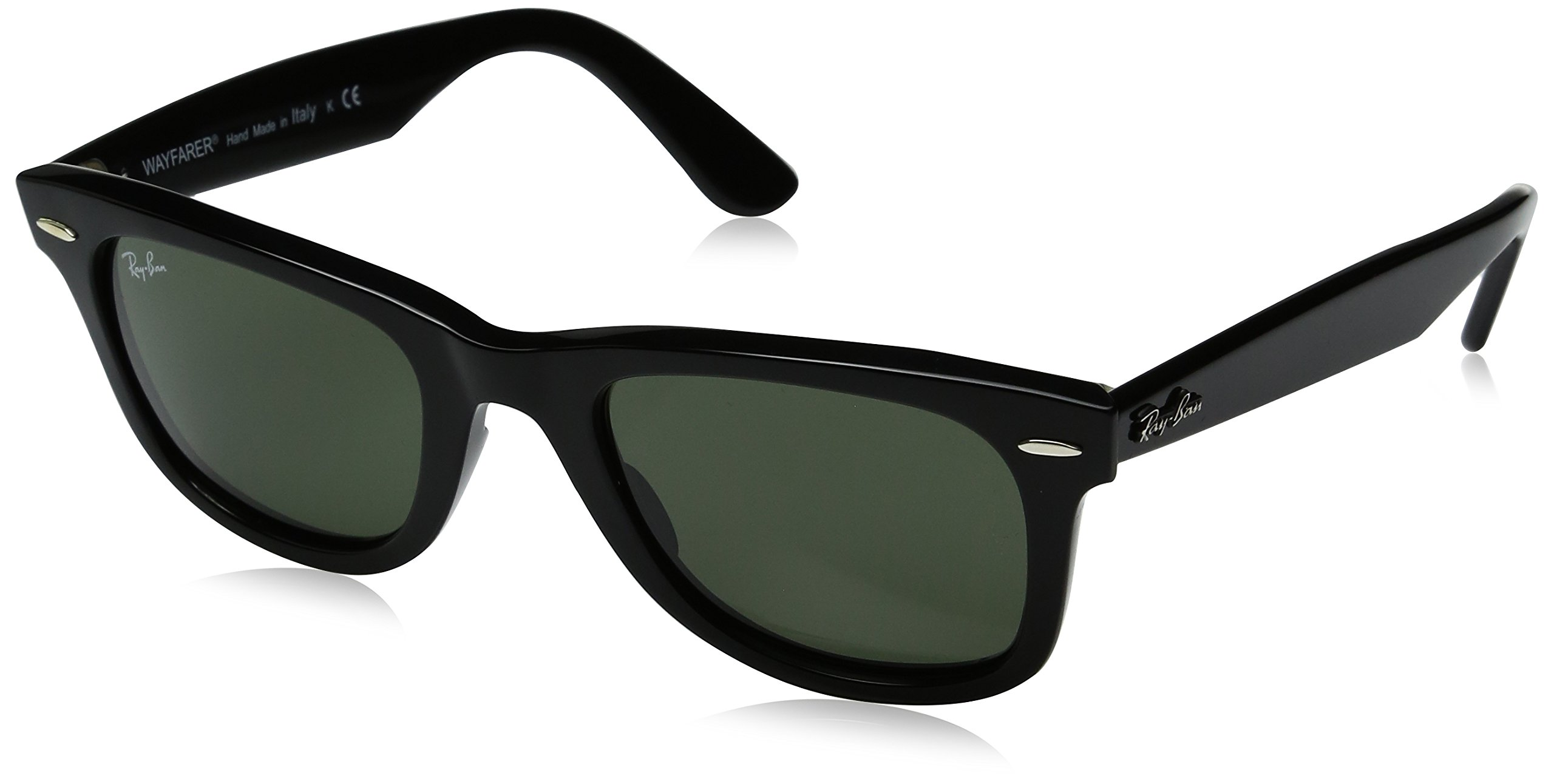 Ray-Ban RB2140 Wayfarer Sunglasses, Black/Green, 50 mm by RAY-BAN