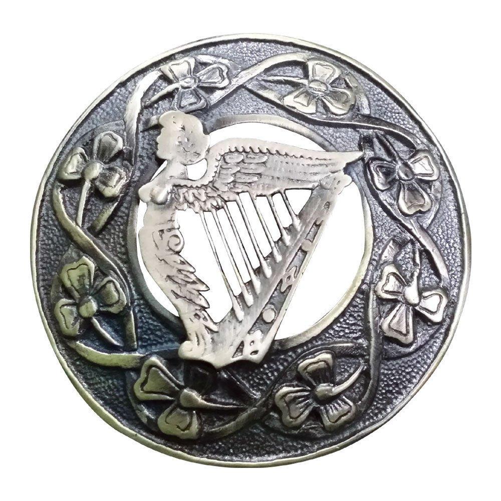 AAR Men,s Scottish Irish Harp Kilt Brooch Fly Plaid Antique Finish 3