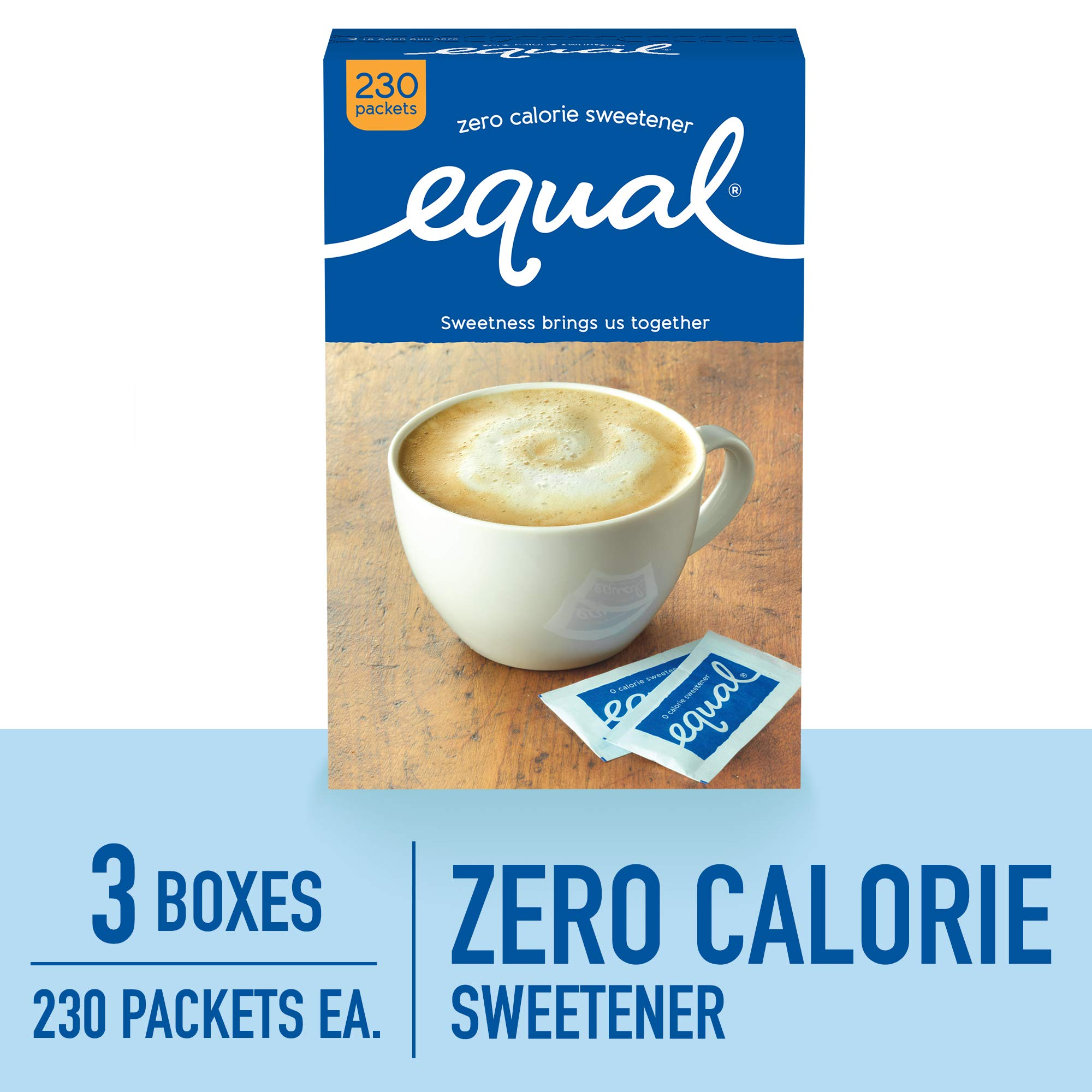 EQUAL 0 Calorie Sweetener, Sugar Substitute, Zero Calorie Sugar Alternative Sweetener Packets, Sugar Alternative, 230 Count (Pack of 3) by Equal (Image #1)