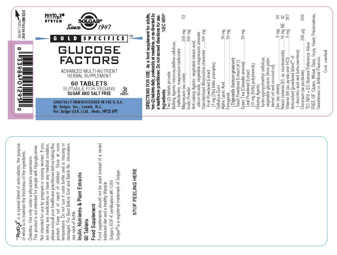 Solgar Gold Specifics Glucose Factors Comprimidos - Envase de 60: Amazon.es: Salud y cuidado personal