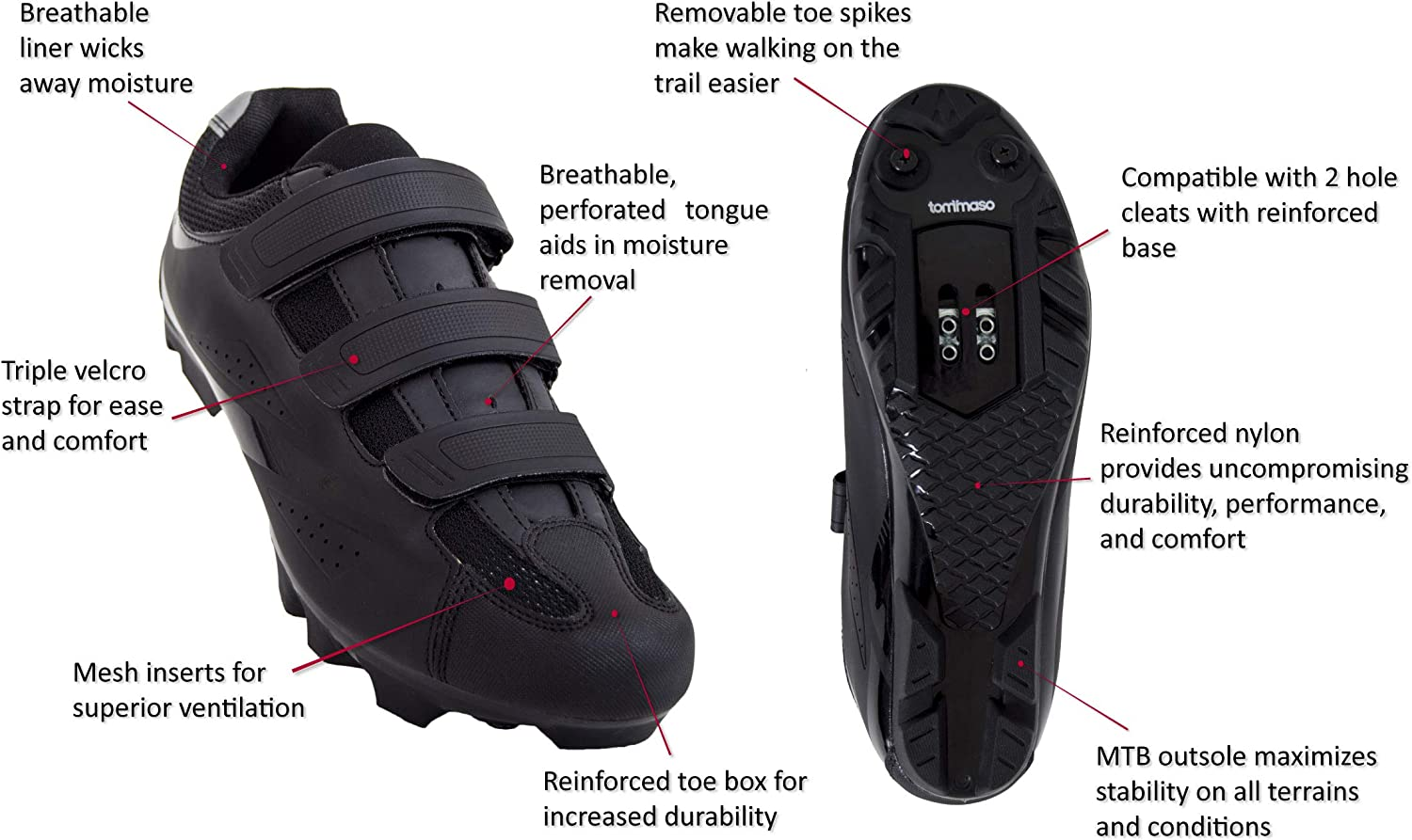 Tommaso Montagna 100 Men s Mountain Bike MTB Spin Cycling Shoe Compatible with SPD Cleats Black