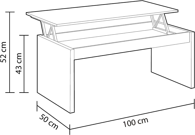 Tavolo per mobili da Sala da Pranzo finito in Bianco Artik x 43//52 cm Altezza x 50 cm Cemento Habitdesign 0L1638A- Tavolino Modello Zenit Misure: 102 cm profondit/à Larghezza