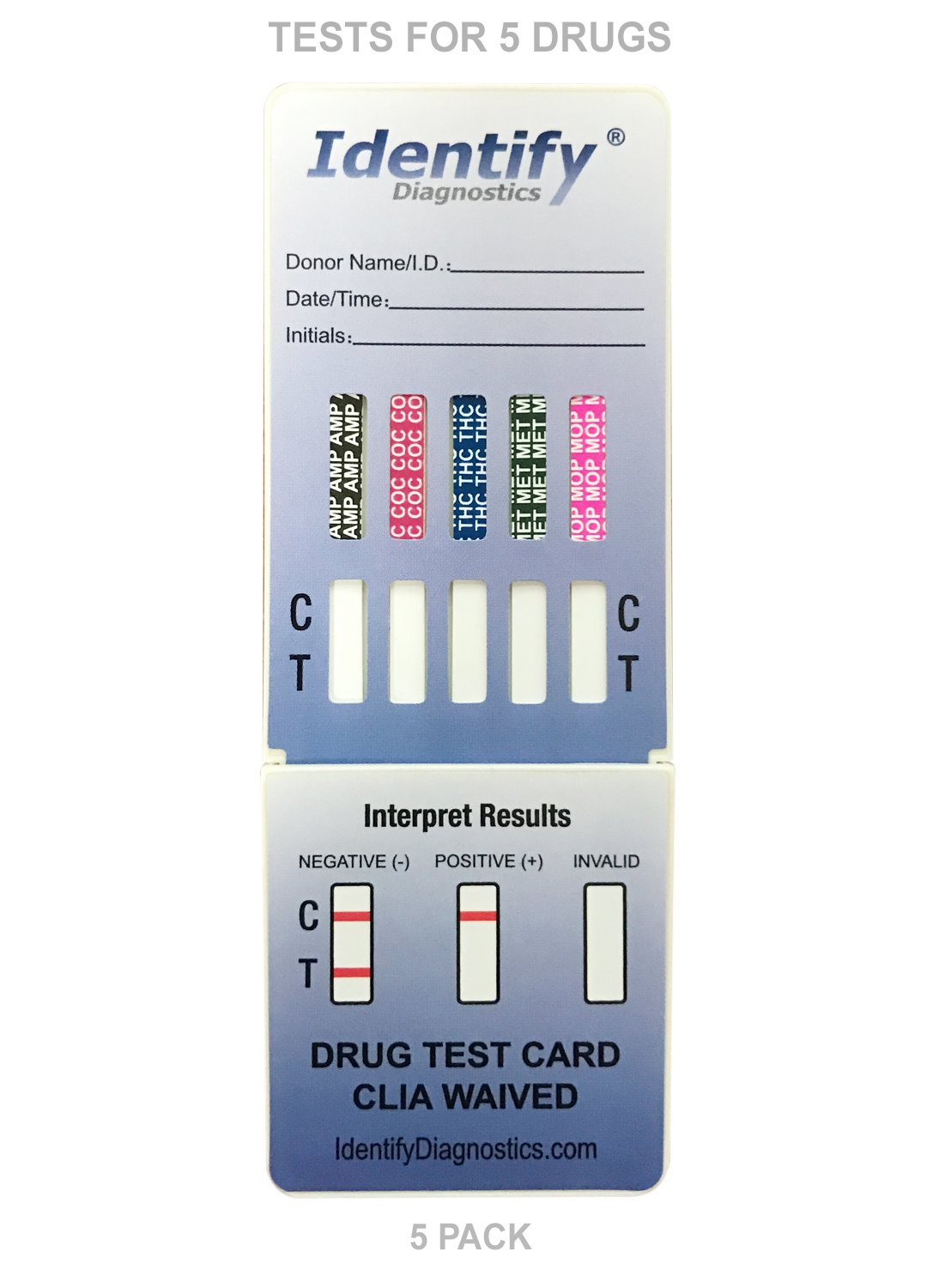 5 Pack Identify Diagnostics 5 Panel Drug Test Dip with Lowest Opiates Cutoff - Testing Instantly for 5 Different Drugs: THC, COC, MOP, MET, AMP #ID-CP5-DIP