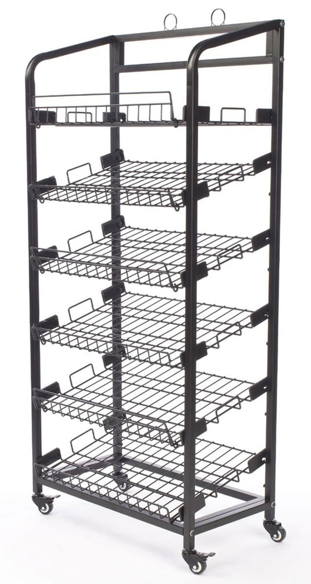 Displays2go Steel Baker's Rack with Wheels 6 Wire Shelves, Black