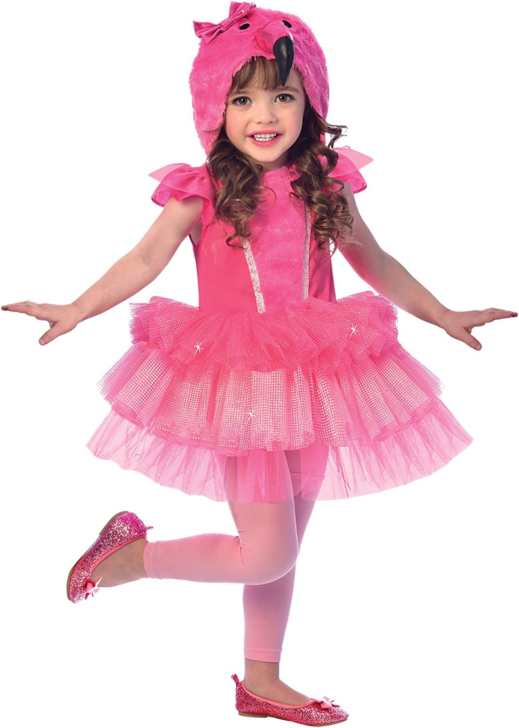amscan- Pink Dress with Flamingo Head Hoodie-Age 7-8 Years-1 PC ...
