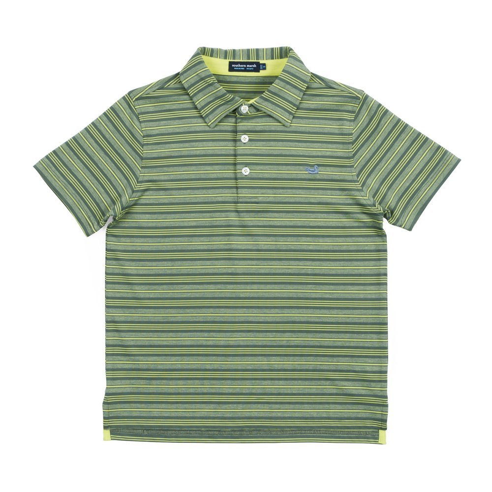 Southern Marsh Youth Aiken Performance Polo in Sage and Lime (Youth Large 10/12, Sage and Lime)