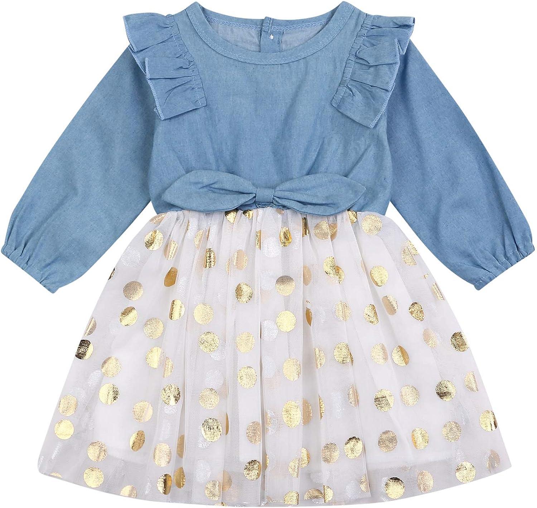 Toddler Kids Baby Girls Denim Bowknot Print Princess Dress Party Wedding Dress