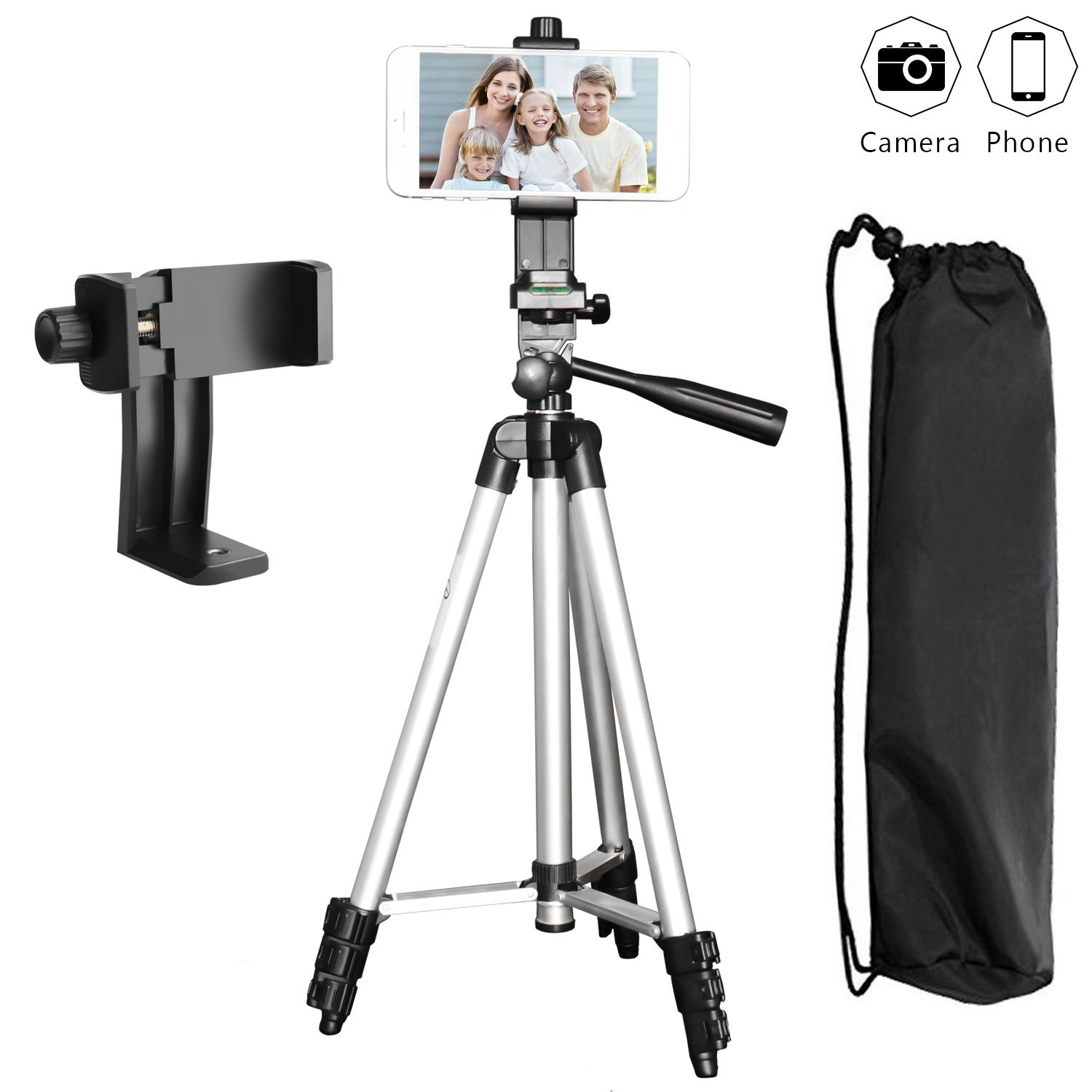 Phone Tripod, PEYOU 50'' Aluminum Camera Tripod + 360°Rotation Smartphone Holder Mount Compatible for iPhone X/8/8 Plus/7/7 Plus/6s/6 Plus, Compatible for Samsung Galaxy Note 8/S9 Plus/S8/S8 Plus/S7 by Peyou