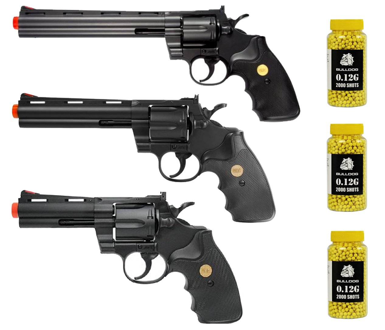 A&N Airsoft Revolver Gift Bundle - 3 X Spring Action Airsoft Revolvers With 6000 Bulldog BBs