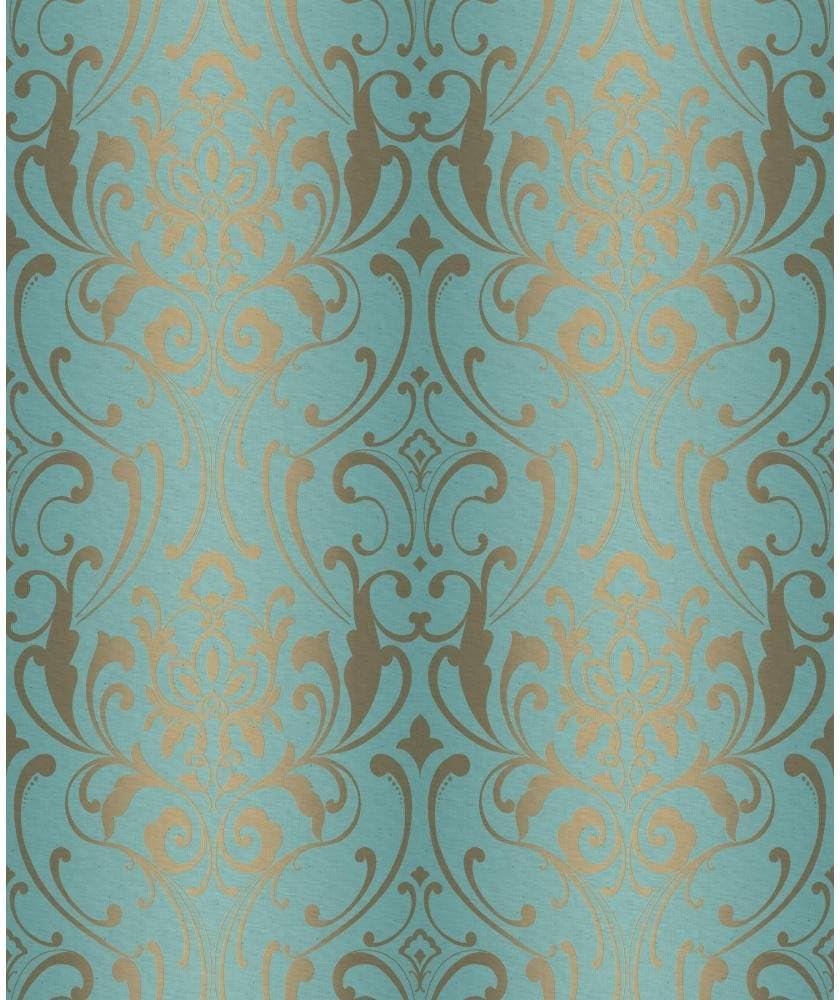 York Wallcoverings Y6150505 Glam Damask Wallpaper Teal Metallic