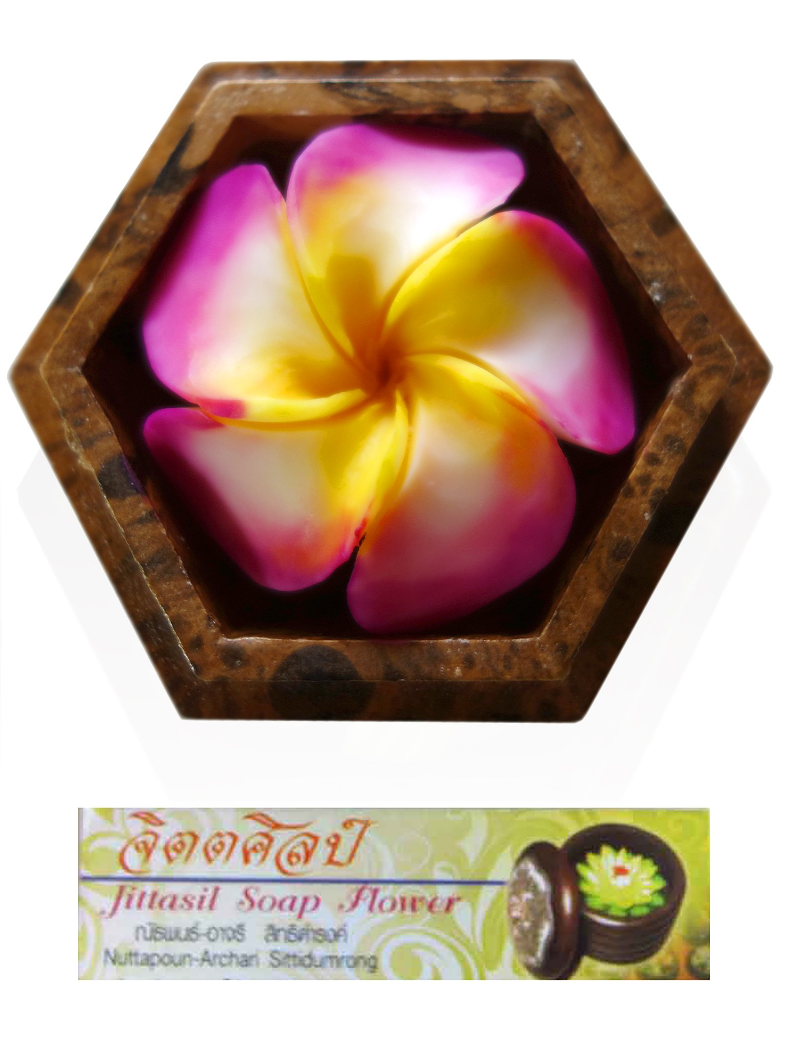 Jittasil Hand-Carved Soap Flower, Rainbow Plumeria Gift Set In Wood Case, 4 Inch