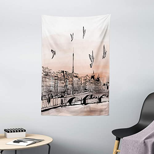 Ambesonne Landscape Tapestry, Panorama Sketch Art Sunset View of Paris from Pont Des Arts with Pigeons River, Wall Hanging for Bedroom Living Room Dorm Decor, 40 X 60 , Peach Grey