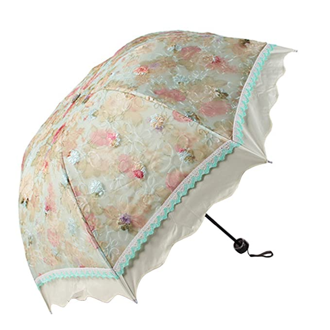 Vintage Style Parasols and Umbrellas Lace Flouncing Rain / Sun travel umbrella Violet Rose $16.99 AT vintagedancer.com