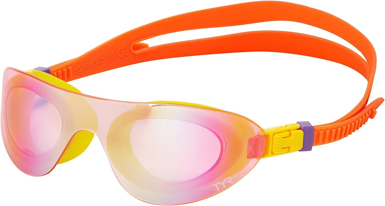 Tyr Sport LGSHDMK 184 Goggles Kids Swimshades Mirrored Rainbow Pink Fluorescent Orange