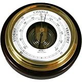 Ambient Weather 1434B-22 Fischer Mahogany Wood and Brass Marine Barometer, 6 1/2""