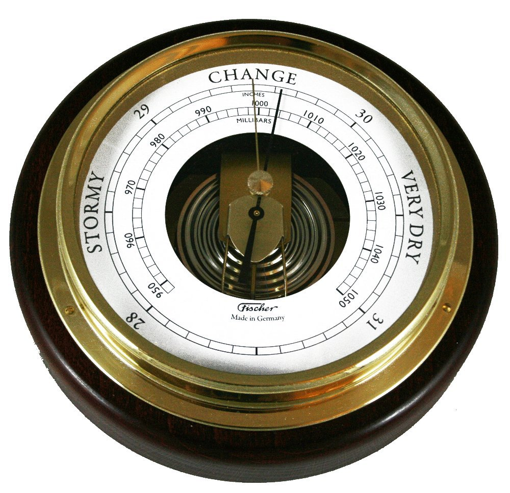 Ambient Weather 1434B-22 Fischer Mahogany Wood and Brass Marine Barometer, 6 1/2''