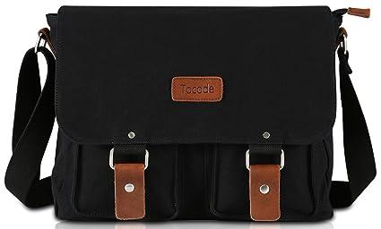 Tocode Canvas Messenger Bag 13 Inch Laptop Shoulder Bag for Men and Women Satchel  Bag Black 894dfa8a5afae
