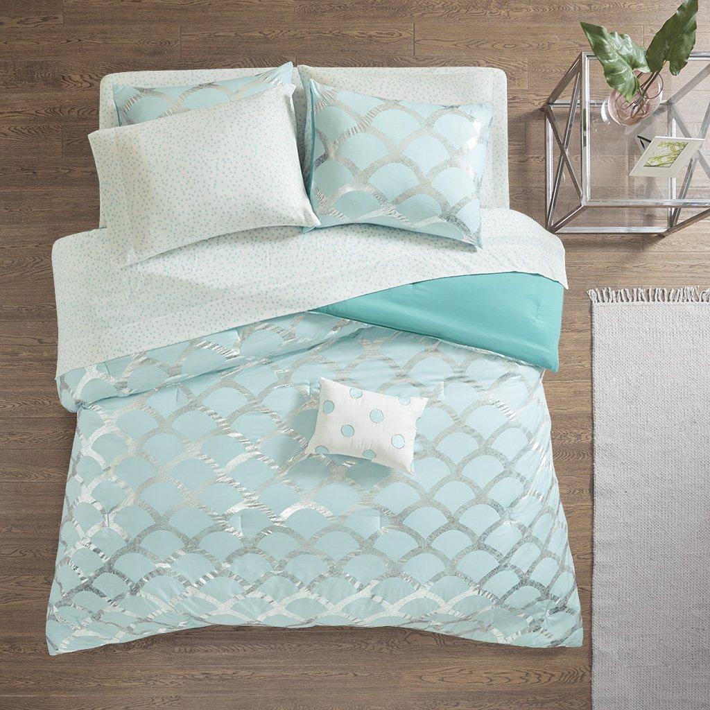 Intelligent Design Lorna Metallic Print Mermid Scale Scallop Polka Dots Ultrasoft Microfiber Comforter and Sheet Set Bag Bedding, Twin Size, Aqua 6 Piece