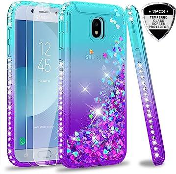 LeYi Compatible with Funda Samsung Galaxy J5 2017 Silicona Purpurina Carcasa con [2-Unidades Cristal Vidrio Templado],Transparente Cristal Bumper Telefono Case Cover para Movil J5 2017 ZX Azul: Amazon.es: Electrónica