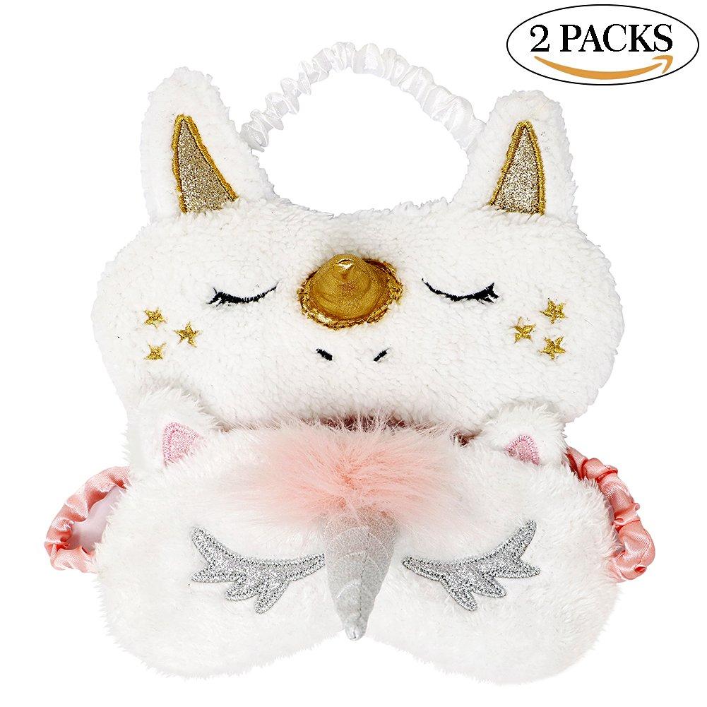 Onshine Unicorn Sleeping Mask 2Pack Cute Unicorn Horn Soft Plush Blindfold Eye Cover for Women Girls
