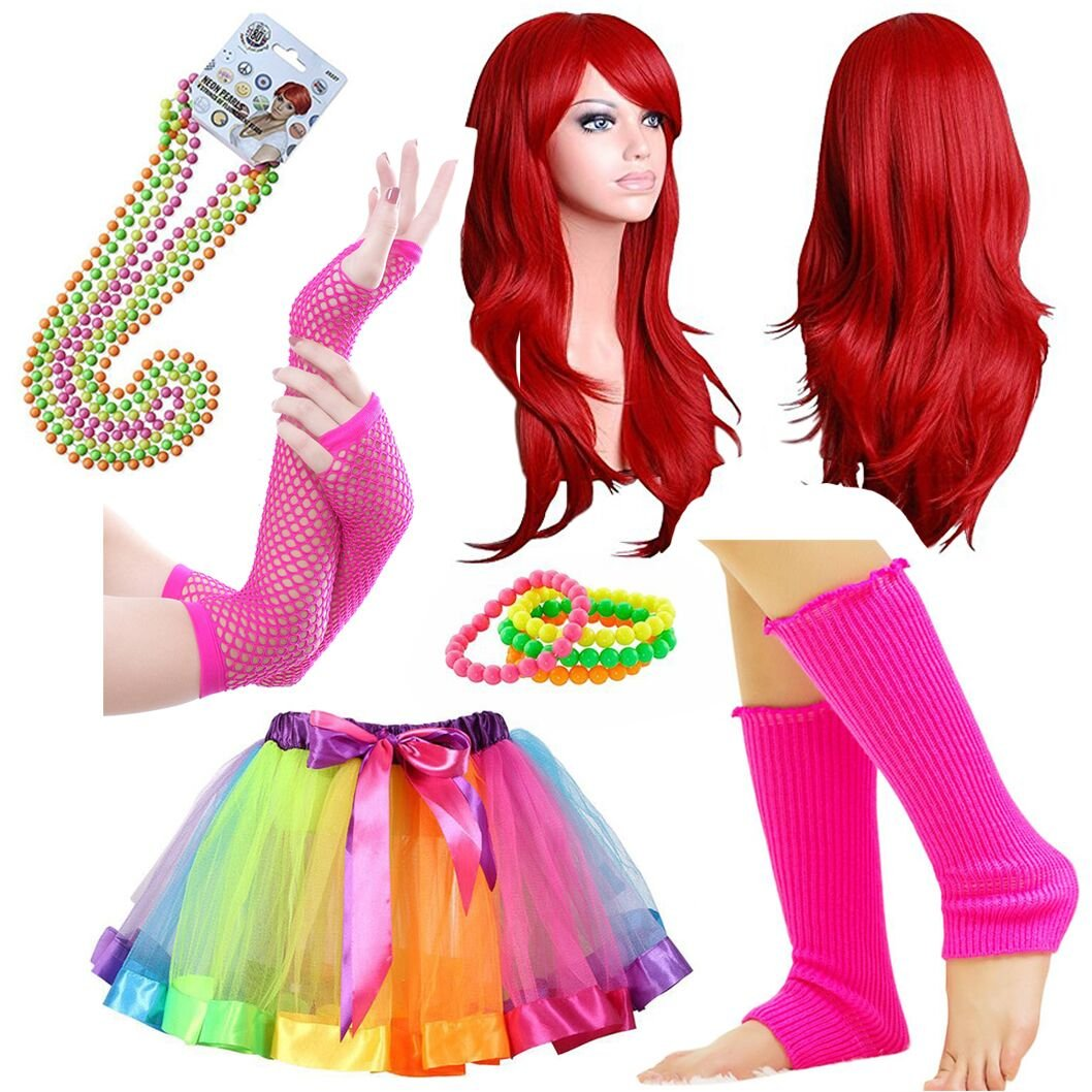 iLoveCos Womens 80s Costume Accessories Fancy Outfit Dress for 1980s Theme Party Supplies for Kids and Adults
