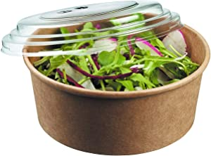 45 Pack, Deli Kraft Paper Bowl With Secure Clear Lids| Eco-Friendly Microwavable Round Food Containers | Hot Or Cold Dish To Go Packaging, Great For Restaurants And Take Outs. (20 oz, Kraft Bowls)